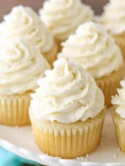 close up image of Moist and Fluffy Vanilla Cupcakes