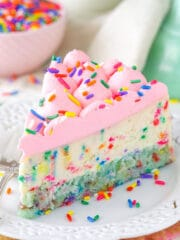Funfetti Cheesecake with Cake Bottom on plate