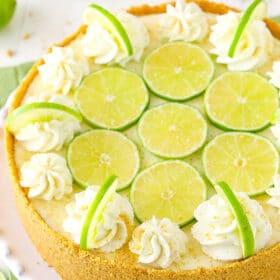 overhead image of Key Lime Cheesecake
