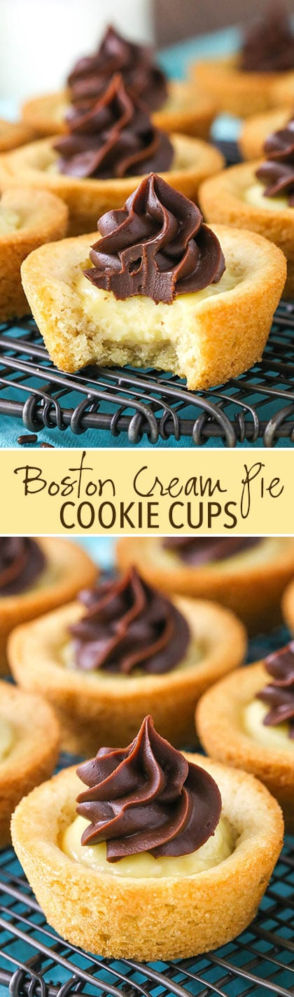 Boston Cream Pie Cookie Cups - chewy vanilla cookie filled with vanilla pastry cream and topped with chocolate ganache!
