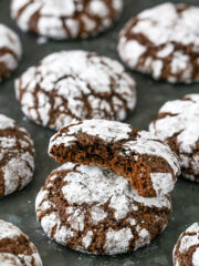 Image of Chocolate Crinkle Cookie with bite taken out
