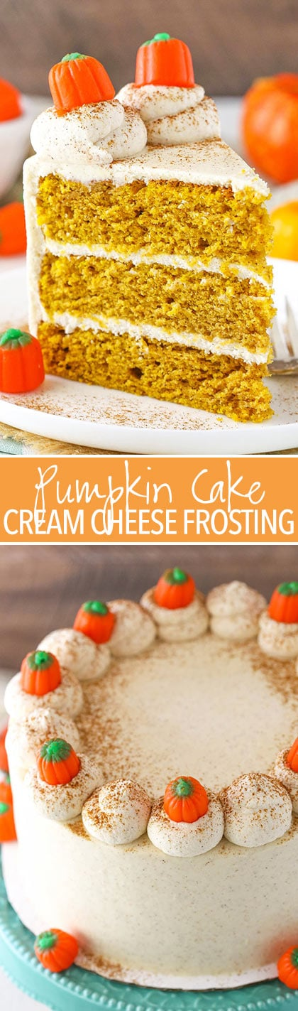 Pumpkin Layer Cake - soft and moist cake with whipped cream cheese frosting!