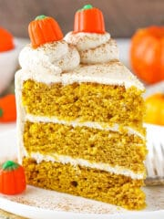 close up image of Pumpkin Layer Cake slice