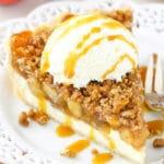 Apple Crumb Cheesecake on plate