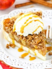 Apple Crumb Cheesecake on plate