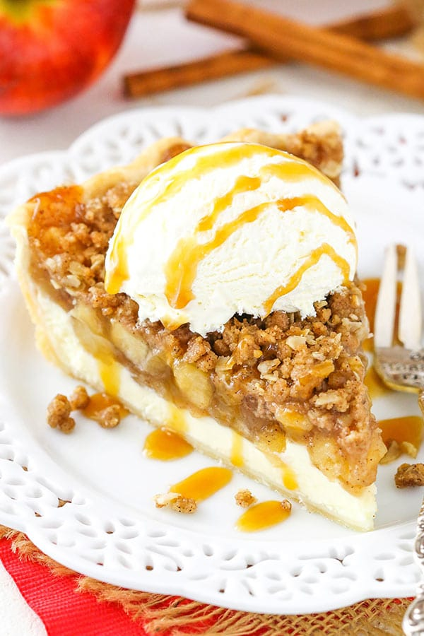 Apple Crumb Cheesecake Pie - delicious layers of homemade apple pie filling, cheesecake and oatmeal crumb! Great for the holidays!