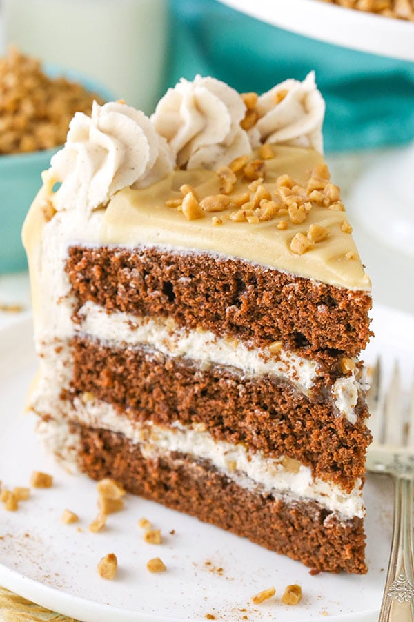 Bourbon Spice Toffee Layer Cake - bourbon, maple, toffee, cinnamon and chocolate all come together in this amazing cake!