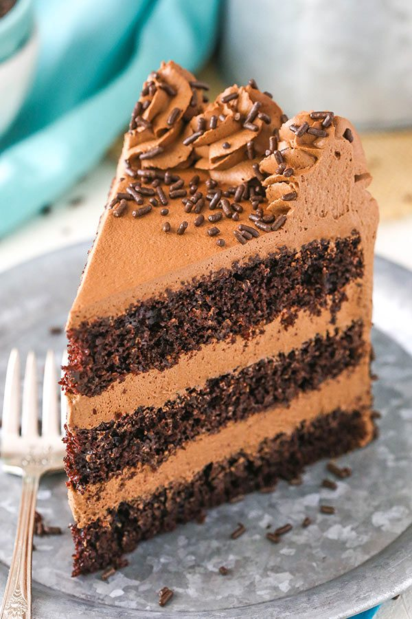 slice of chocolate mousse layer cake