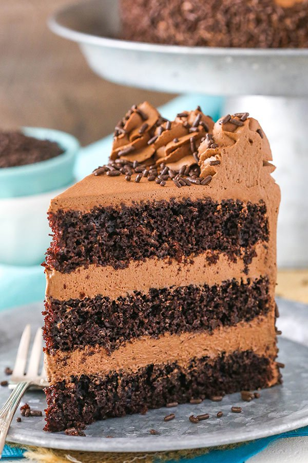 Chocolate Mousse Cake - a moist chocolate cake with silky smooth chocolate mousse!