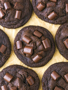 overhead image of Double Chocolate Chunk Cookies