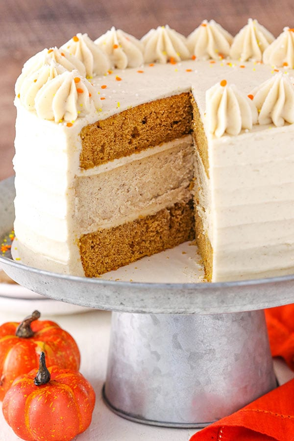 Pumpkin Cheesecake Cake - layers of moist pumpkin cake and spiced cheesecake! Perfect for Thanksgiving!