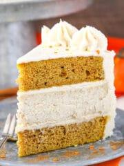 A Slice of Pumpkin Cheesecake Layer Cake