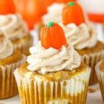 Pumpkin Cheesecake Swirl Cupcakes
