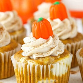 close up image of Pumpkin Cheesecake Swirl Cupcake