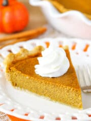 slice of Classic Pumpkin Pie on plate