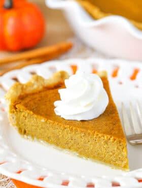 slice of Classic Pumpkin Pie on plate