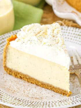 slice of Eggnog Cheesecake on plate