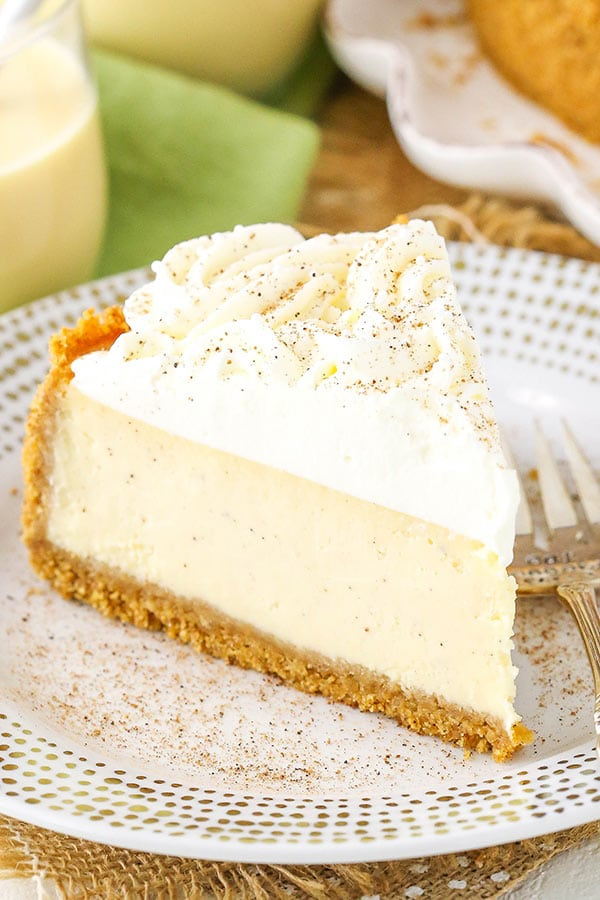 Eggnog Cheesecake - perfect cheesecake for the holidays!