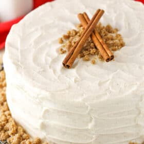overhead image of Spice Cake with Cream Cheese Frosting