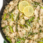overhead image of Lemon Rosemary Chicken and Rice in skillet