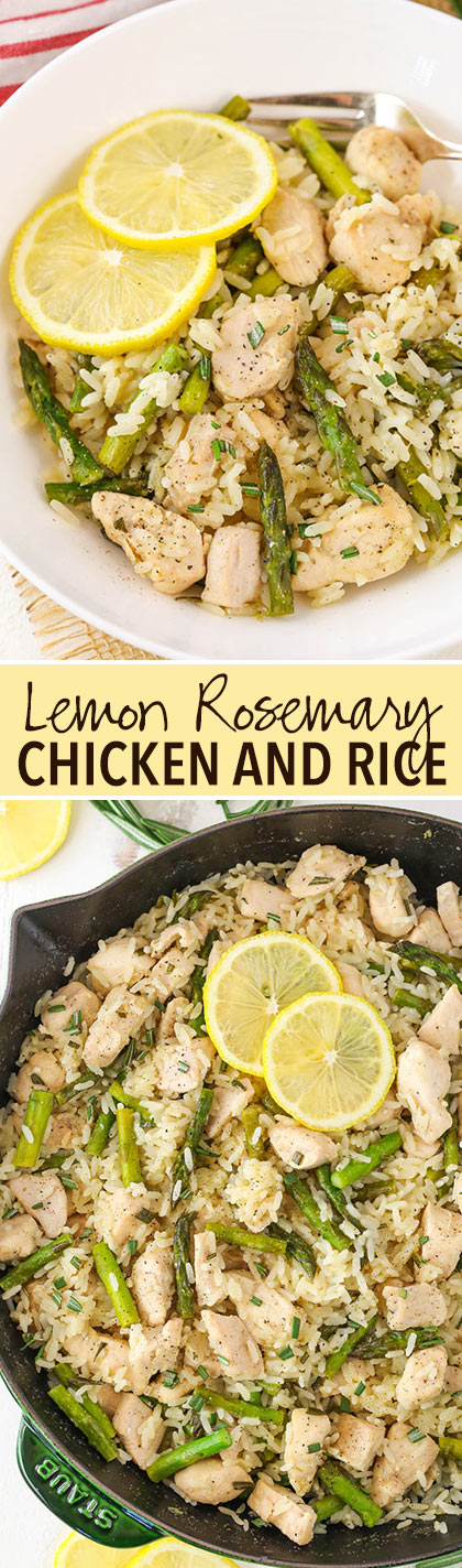 Lemon Rosemary Chicken and Rice - a light meal full of lemon and rosemary flavor, chicken and asparagus!