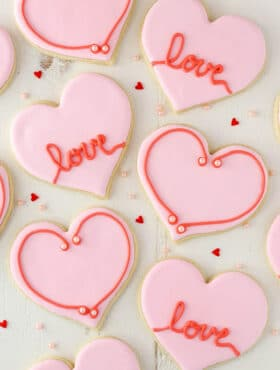 overhead image of Valentine's Day Heart Cutout Cookies