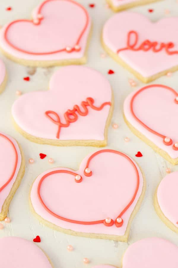 Valentine's Day Heart Cutout Cookies decorated