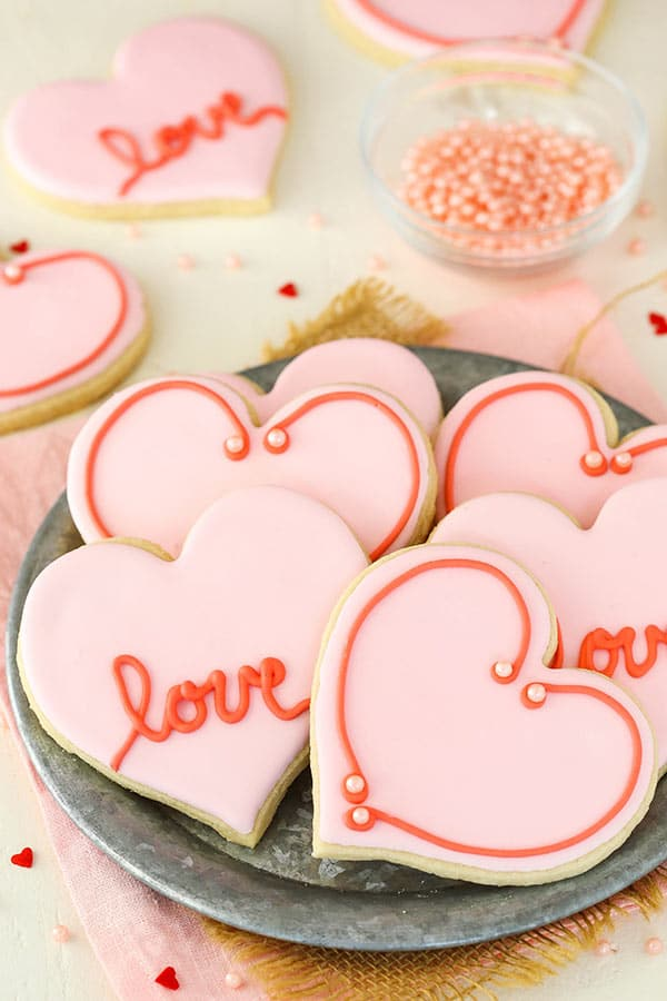 close up of Valentine's Day Heart Cutout Cookies