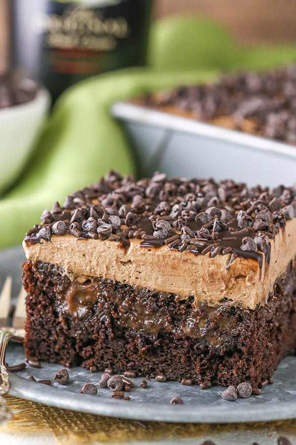 close up of Baileys Chocolate Poke Cake serving