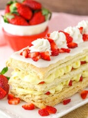 Strawberry Napoleons on dish