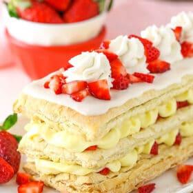 Strawberry Napoleons on dish