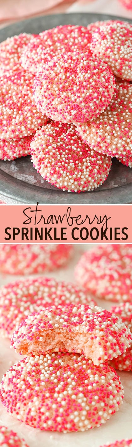 Strawberry Sprinkle Cookies - full of strawberry flavor and so fun! Perfect for Valentine's Day!