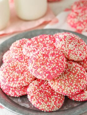 Strawberry Sprinkle Cookies on plate