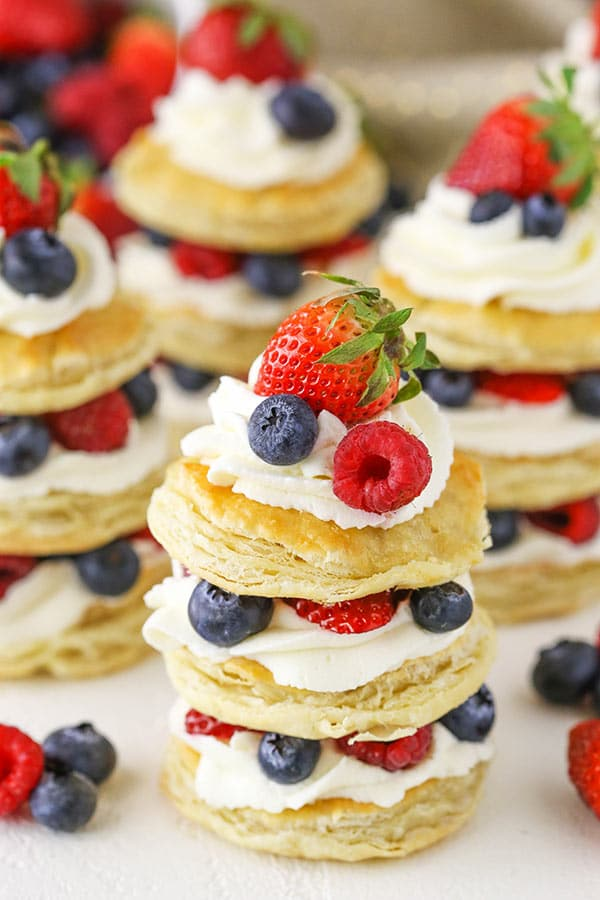 Berries and Cream Mini Puff Pastry Cakes - layers of Puff Pastry, fresh mascarpone whipped cream and fresh berries! Perfect for Easter!