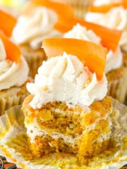 inside of Carrot Cake Cheesecake Swirl Cupcakes