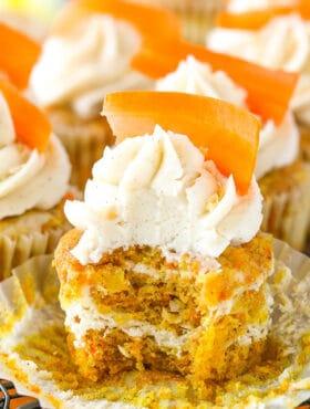 inside of Carrot Cake Cheesecake Swirl Cupcakes