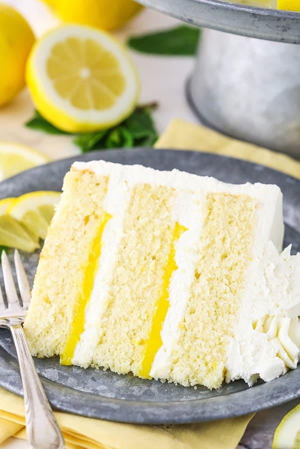 slice of lemon cake on a metal plate