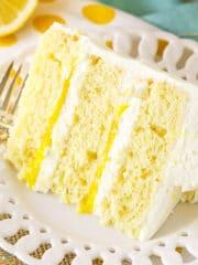 overhead image of Lemon Mascarpone Layer Cake slice