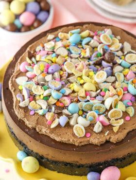 overhead image of Malted Easter Egg Chocolate Cheesecake