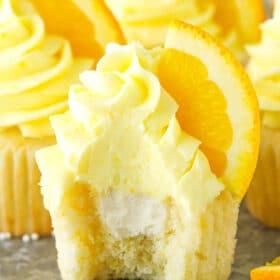 image of inside of Orange Cream Cupcakes