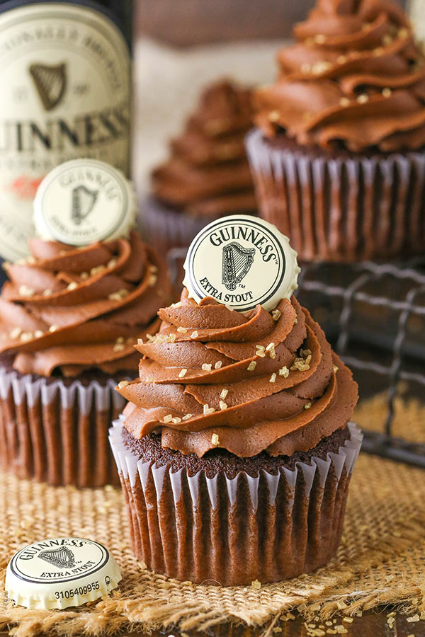 Guinness Chocolate Cupcakes! Moist chocolate cupcakes with fudgy frosting and a ganache filing - all loaded with Guinness!