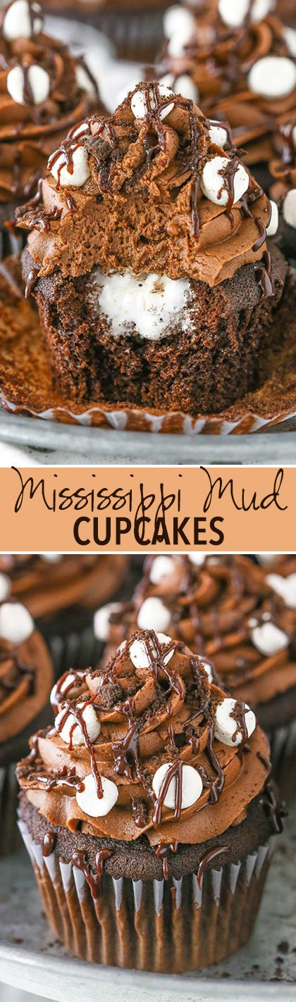 Mississippi Mud Cupcakes - moist chocolate cupcake, marshmallow fluff filling and chocolate fudge frosting!