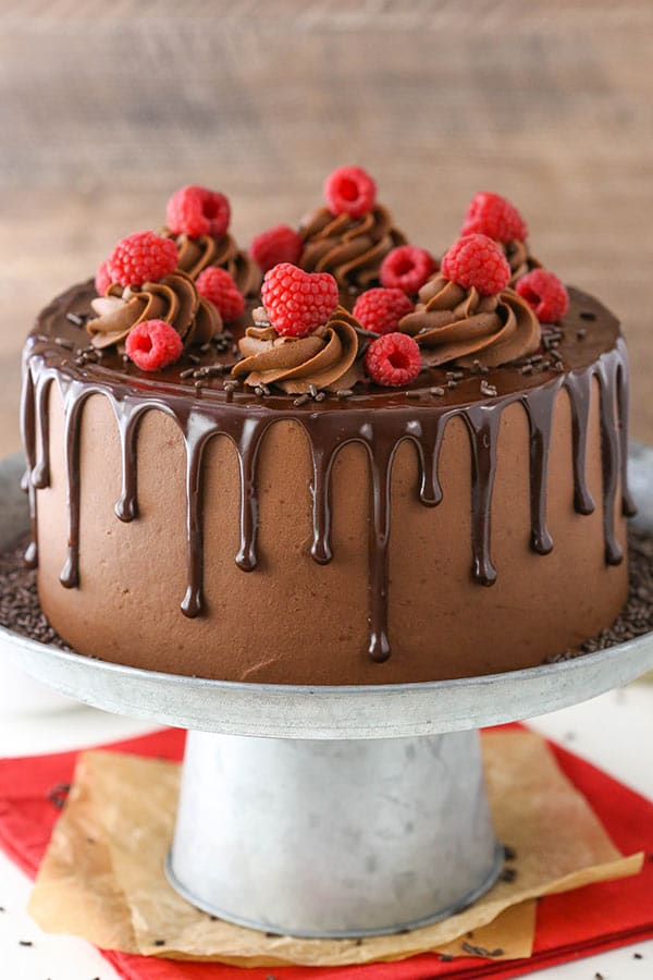 Raspberry Chocolate Layer Cake decorated