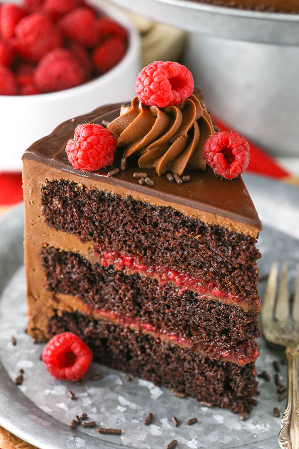close up of Raspberry Chocolate Layer Cake slice