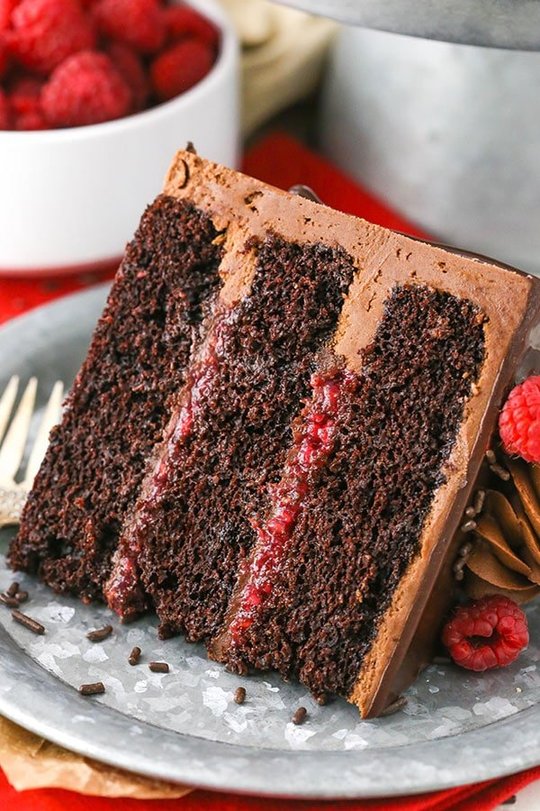 Raspberry Chocolate Cake layers