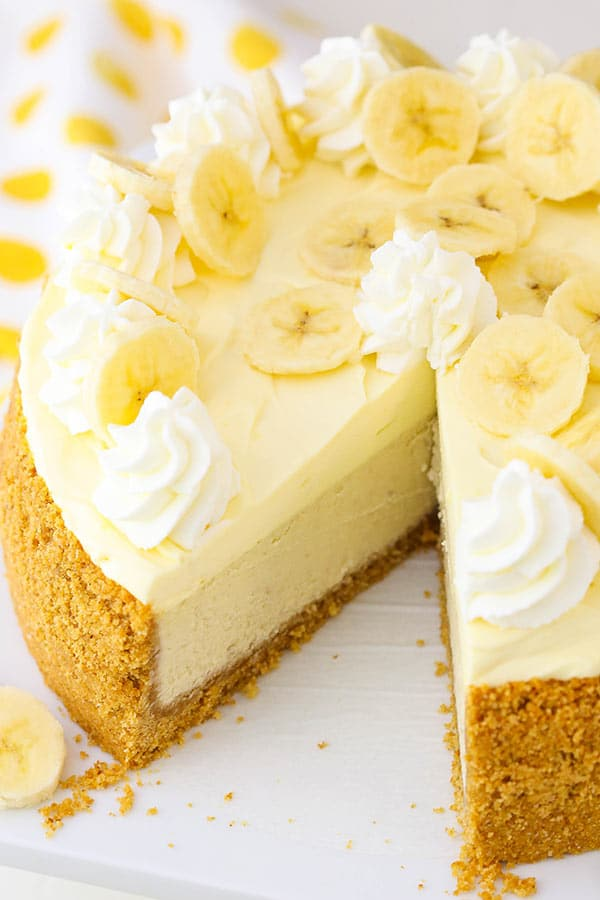 Banana Cream Cheesecake with slice missing angled view