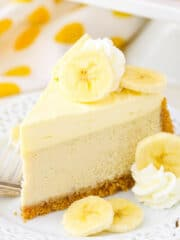 Banana Cream Cheesecake - a creamy banana cheesecake with banana bavarian cream! Amazing!