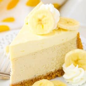slice of Banana Cream Cheesecake