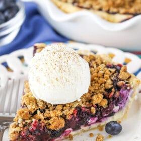 slice of Blueberry Crumb Cheesecake Pie