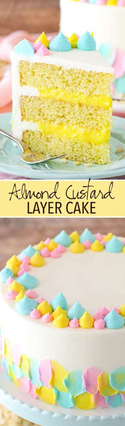 Almond Custard Layer Cake - moist almond cake, creamy almond custard and almond buttercream!